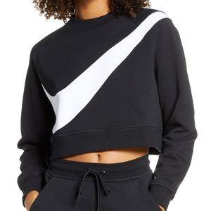 NEW Nike Air Swoosh Cropped Fleece Crew Sweatshirt
